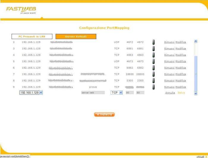 apertura porta 80 per web server